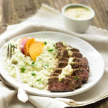 Steak with Mango Curry Yogurt Sauce and Cauliflower Rice- An easy, healthy dinner with a little ethnic flair! | Foodfaithfitness.com | #recipe #beef #cauliflower