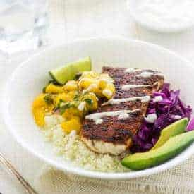 Cauliflower Fish Taco Bowls