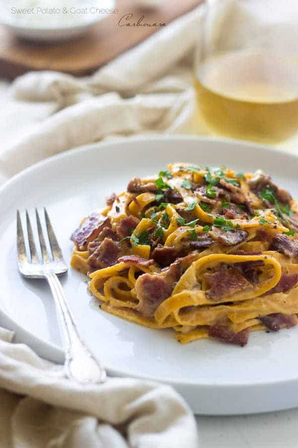 Sweet Potato And Goat Cheese Carbonara Only 5 Ingredients So Creamy Healthy And