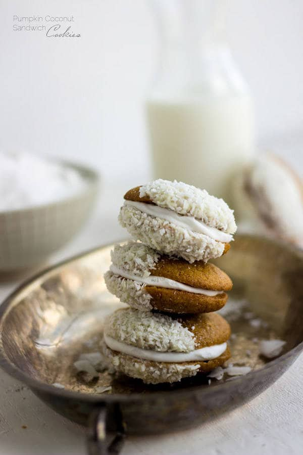 Pumpkin Cookies with Coconut Cream and White Chocolate | Food Faith Fitness
