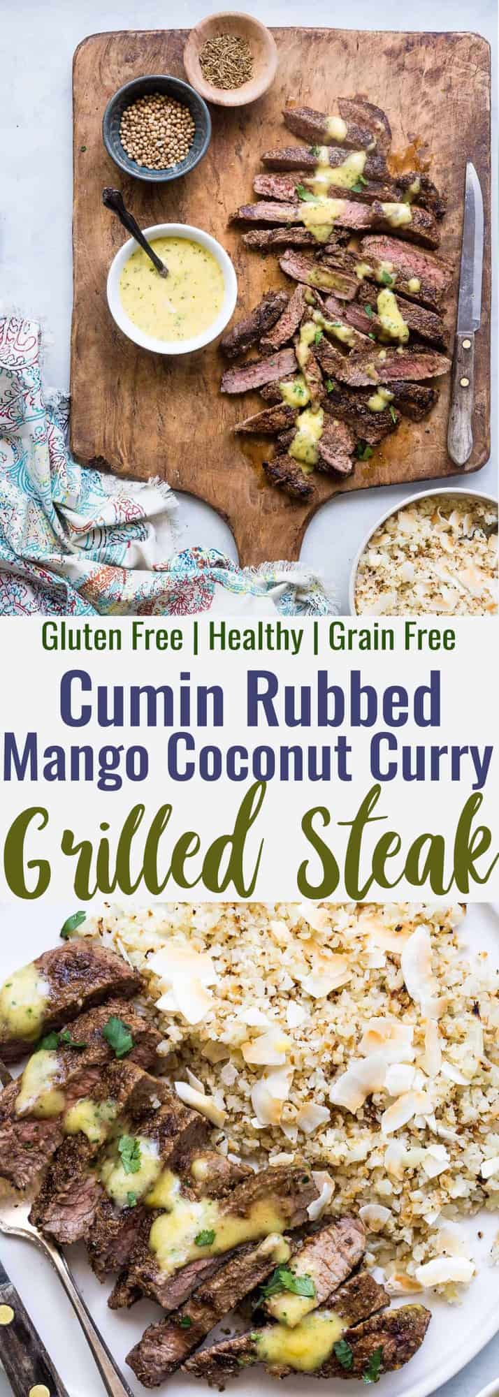 Mango Curry Steak with Coconut Cauliflower Rice - This mango curry steak is served with coconut cauliflower rice for an easy, weeknight dinner that is  under 400 calories, lower carb, gluten free and has bold, addicting flavor! | #Foodfaithfitness | #Glutenfree #Lowcarb #Healthy #Sugarfree #grainfree