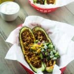Mexican Stuffed Zucchini with Avocado Salsa - SO yummy, healthy and great for school nights! | Foodfaithfitness.com | #glutenfree #lowcarb #recipe #zucchini