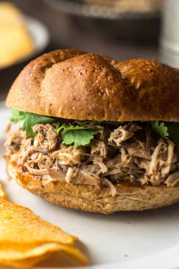 Slow Cooker Island Pulled Pork - This is your new favorite #pulledpork. 'Nuff said. | Foodfaithfitness.com | #slowcooker #recipe #pork