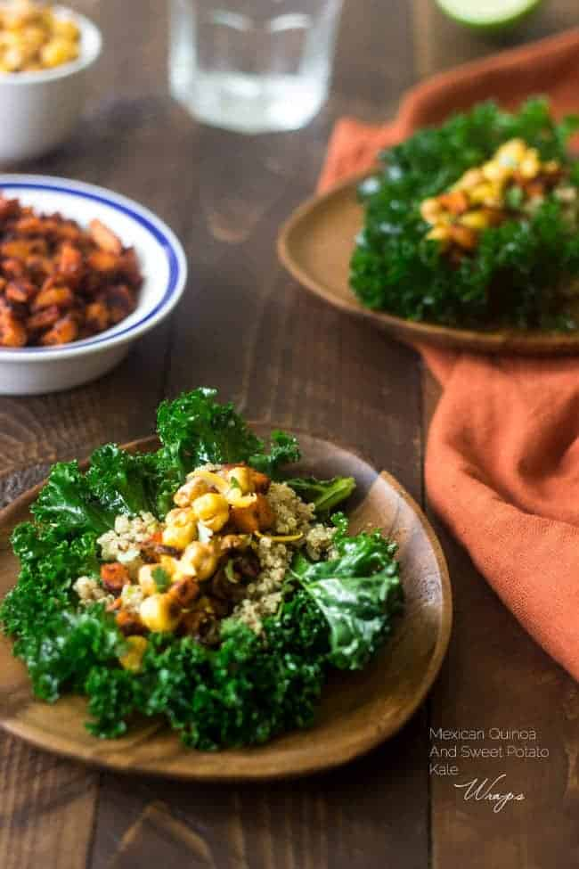 Mexican Quinoa Kale Wraps Filled With Crunchy Chickpeas And Sweet Potatoes These Are Perfect