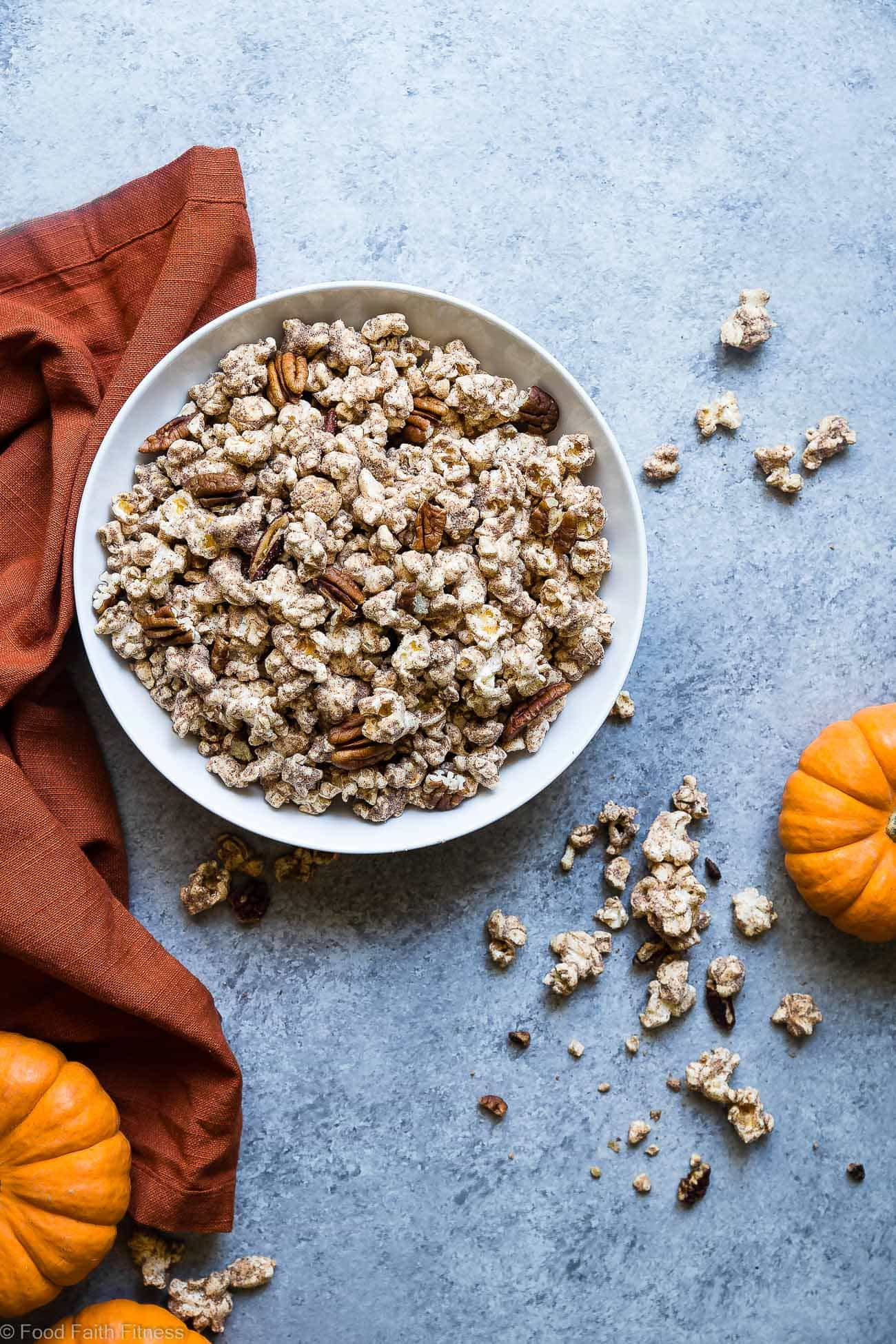 Vegan Pumpkin Spice Protein Popcorn -  This Pumpkin Flavored Homemade Microwave Popcorn is a healthy, dairy-free and protein packed fall treat! Perfect for kids and adults and so easy to make! | Foodfaithfitness.com | @FoodFaithFit