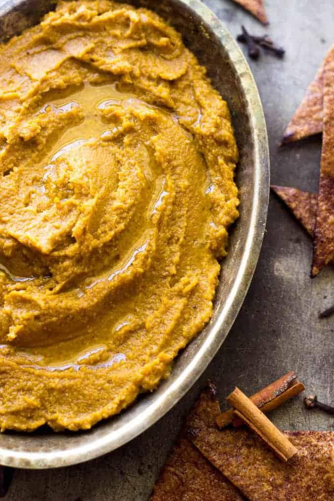 "Pumpkin Pie Hummus with Baked Cinnamon ""Sugar"" Tortilla Chips - Healthy, Easy and tastes like pumpkin pie!   Foodfaithfitness.com   #pumpkin #recipe #healthysnack #hummus"