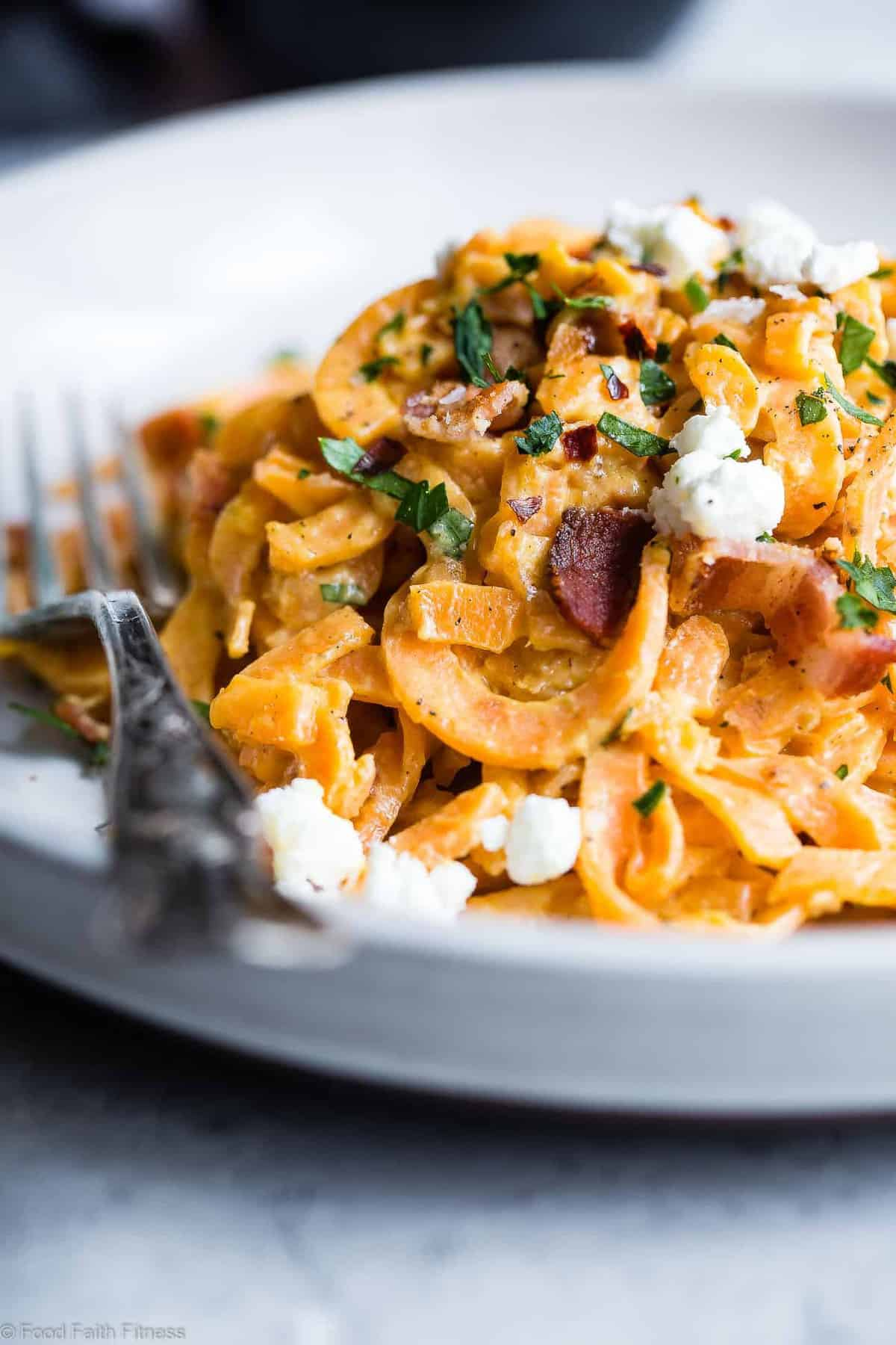 Healthy Sweet Potato Noodle Carbonara -A healthy and gluten free twist on the classic carbonara recipe that uses goat cheese to make it extra creamy! Quick, easy, family friendly and only 4 ingredients! Even picky eaters will LOVE it! | #Foodfaithfitness | #Glutenfree #Healthy #Spiralized #Grainfree #Sweetpotato