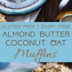 Gluten Free Coconut Almond Butter Oatmeal Muffins - These healthy, dairy free muffins are made with simple, wholesome ingredients like oatmeal and almond butter and topped with coconut! They use applesauce instead of oil to keep them SO moist! | #Foodfaithfitness | #Glutenfree #Healthy #Almondbutter #Coconut #Muffins