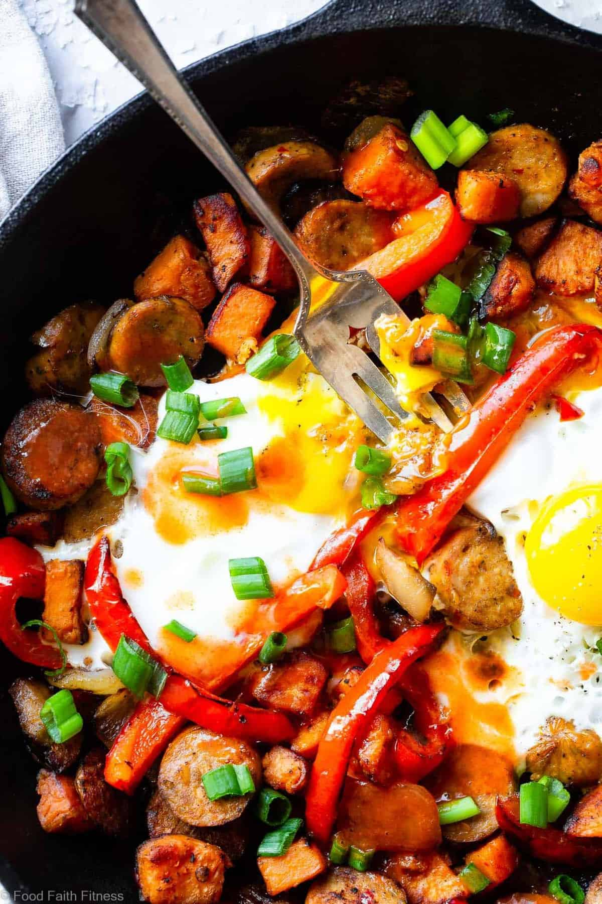 Buffalo Chicken Paleo Sweet Potato Hash - A game day spin on a classic breakfast that will be hit with even picky eaters! It's a quick and easy breakfast OR dinner that is paleo and whole30 compliant too! | #Foodfaithfitness |