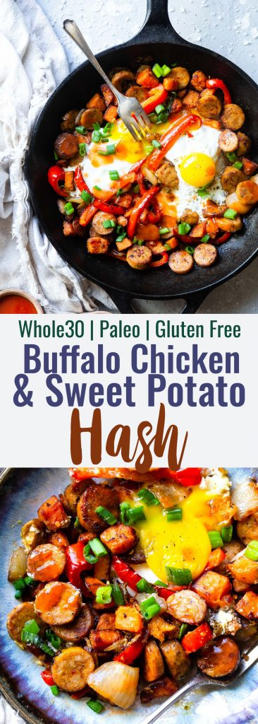 Buffalo Chicken Paleo Sweet Potato Hash - Agame day spin on a classic breakfast that will be hit with even picky eaters! It's a quick and easy breakfast OR dinner that is paleo and whole30 compliant too! | #Foodfaithfitness | #Glutenfree #Paleo #Whole30 #Healthy #Dairyfree