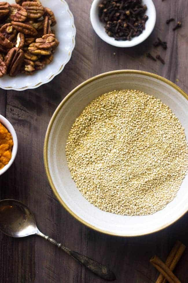 Pumpkin Breakfast Quinoa with Maple Whipped Ricotta - So creamy, delicious and healthy, this is your new favorite #breakfast EVER.   Foodfaithfitness.com   #quinoa #pumpkin #recipe