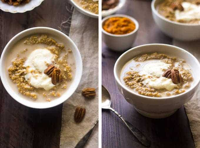 Pumpkin Breakfast Quinoa with Maple Whipped Ricotta - So creamy, delicious and healthy, this is your new favorite #breakfast EVER. | Foodfaithfitness.com | #quinoa #pumpkin #recipe