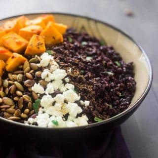 Black Rice Recipe with Roasted Pumpkin, Harissa and Goat Cheese {Gluten Free, + Vegetarian}