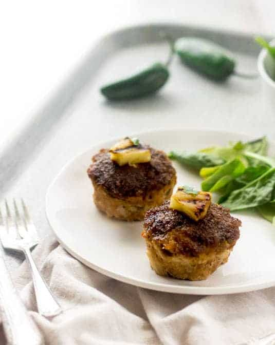 Mini BBQ Pineapple Turkey Meatloaves - Smokey, sweet and a little bit spicey, these are sure to be a hit at your dinner table! | Foodfaithfitness.com | #meatloaf #glutenfree #recipe