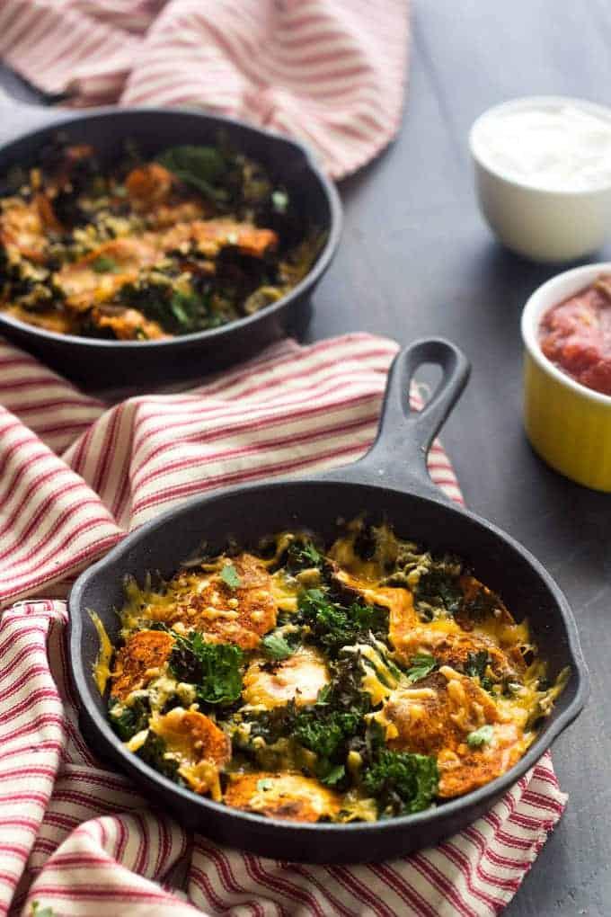Mexican Sweet Potato And Kale Nachos - A healthy alternative to nachos that is SO good and SO easy! | Foodfaithfitness.com | #recipe #kale #nachos