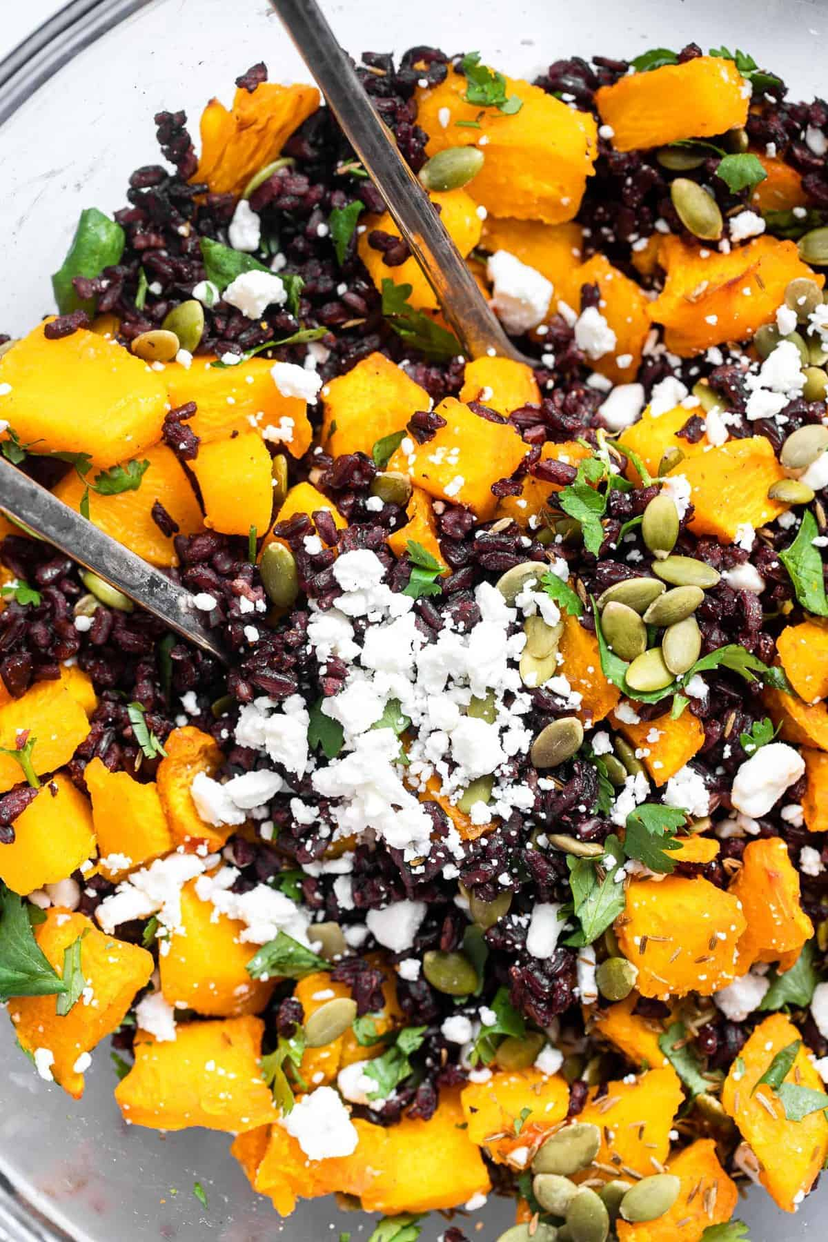 Black rice salad with roasted pumpkin in a bowl