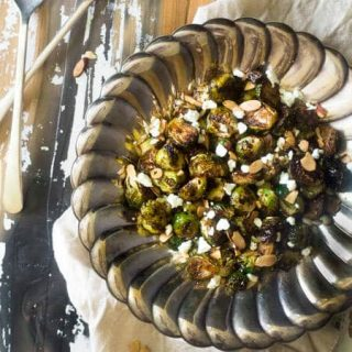Oven Balsamic Roasted Brussels Sprouts with Goat Cheese