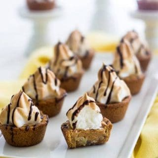 Peanut Butter Banana Stuffed Cookie Cups - The cute cookie cups are SO easy and are great for kids! Plus they are gluten free and have NO butter! | Foodfaithfitness.com | #recipe