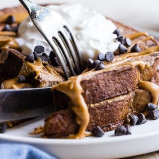 Healthy High Protein French Toast with Chocolate and Peanut Butter