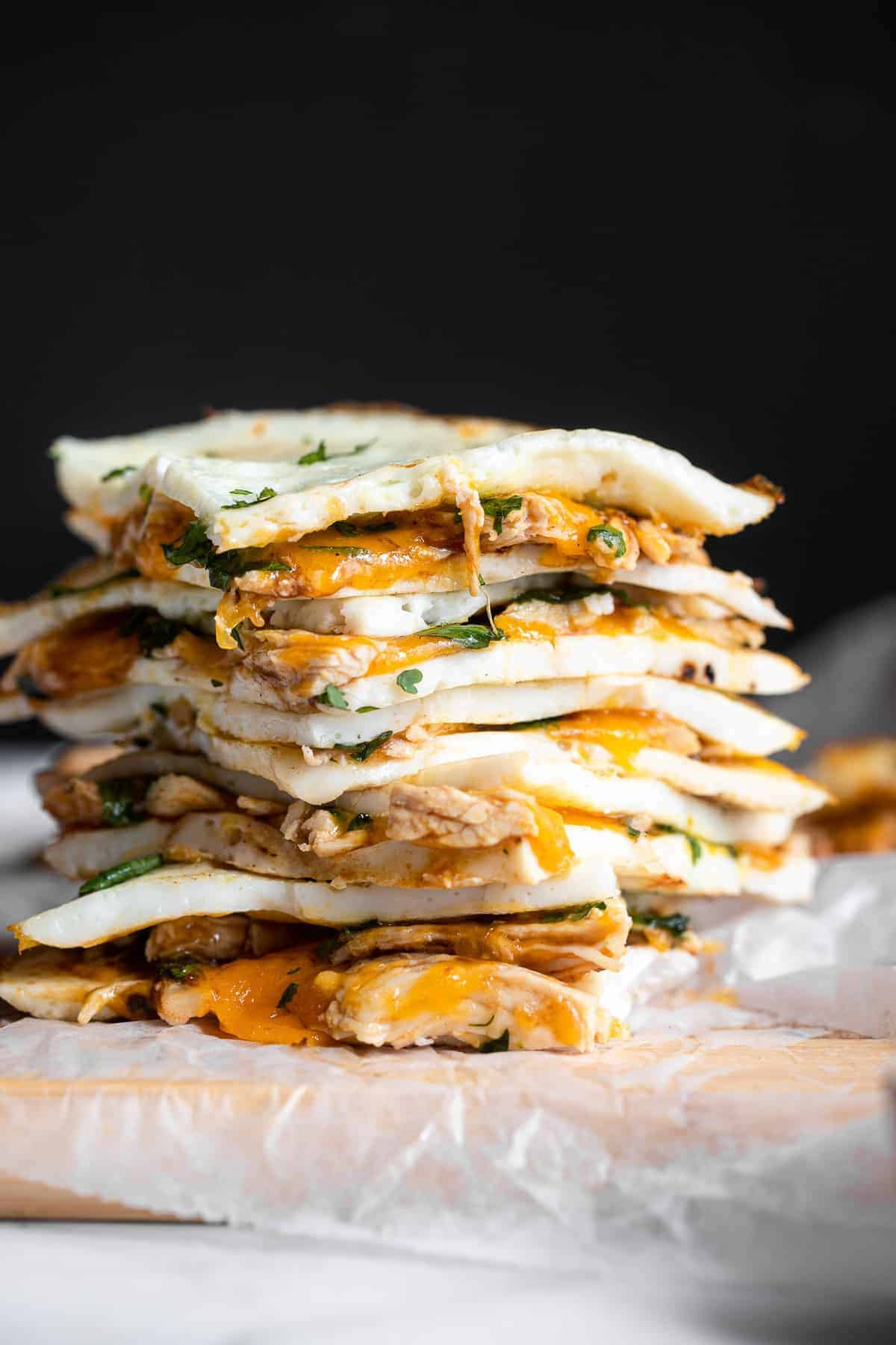 low carb keto quesadillas stacked together