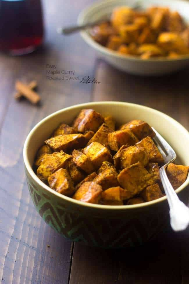 Maple Curry Roasted Sweet Potatoes - A quick and easy side dish that is perfect for a light and healthy Thanksgiving option, that your family will love! | Foodfaithfitness.com | #recipe