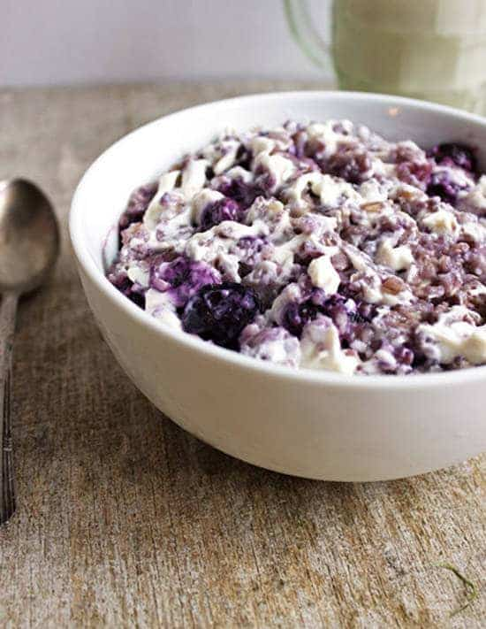 Top 14 Recipes of 2014 - Blueberry Cheesecake Oatmeal   Foodfaithfitness.com   #recipe