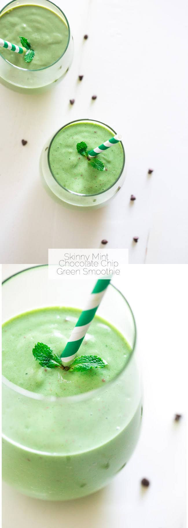 Mint Chocolate Chip Green Smoothie - Tastes like a mint chocolate chip milkshake but it's SO healthy and packed with protein and nutrients! | Foodfaithfitness.com | #recipe