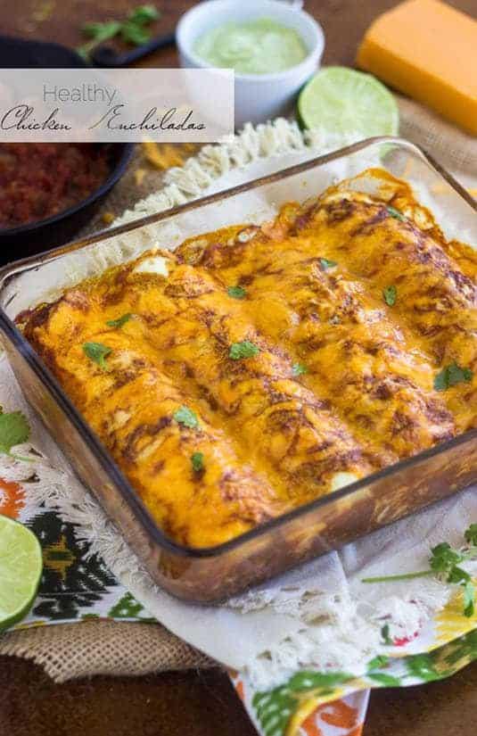 Top 14 Recipes of 2014  - Skinny Chicken Enchiladas   Foodfaithfitness.com   #recipe