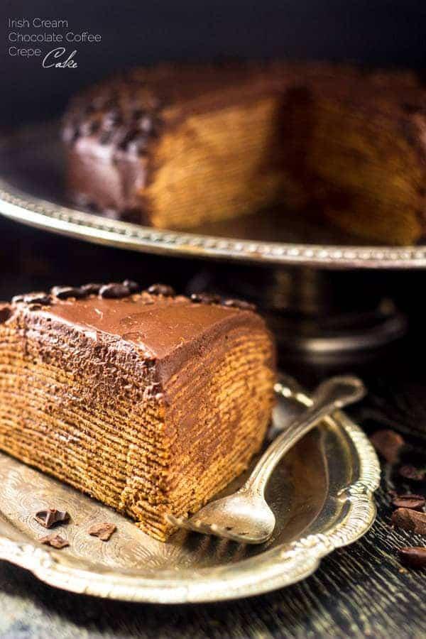 Top 14 Recipes of 2014 - Baileys Chocolate Coffee Crepe Cake   Foodfaithfitness.com   #recipe