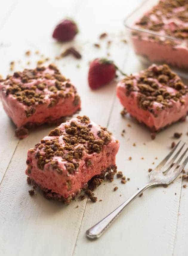 Top 14 Recipes of 2014 - Strawberry Freeze   Foodfaithfitness.com   #recipe