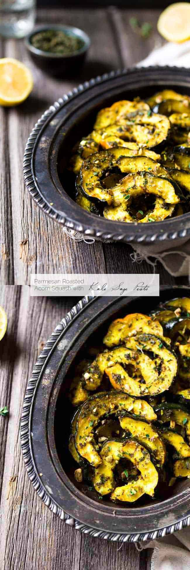 Pamesan Toasted Acorn Squash with Sage Kale Pesto - An easy side dish that is perfect for entertaining or a weeknight dinner! | Foodfaithfitness.com | #recipe