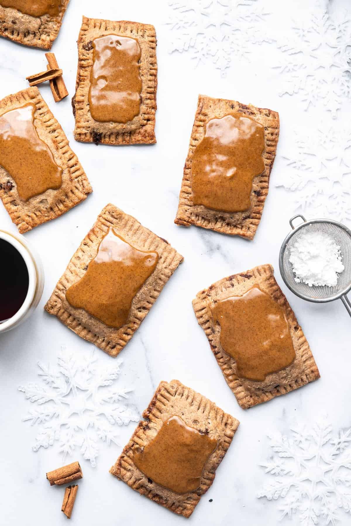 healthy pop tarts on a table with coffee