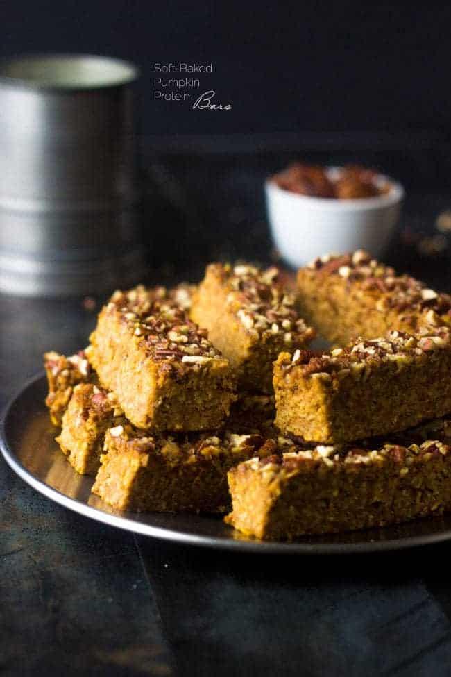 Top 14 Recipes of 2014 -  Pumpkin Protein Bars   Foodfaithfitness.com   #recipe