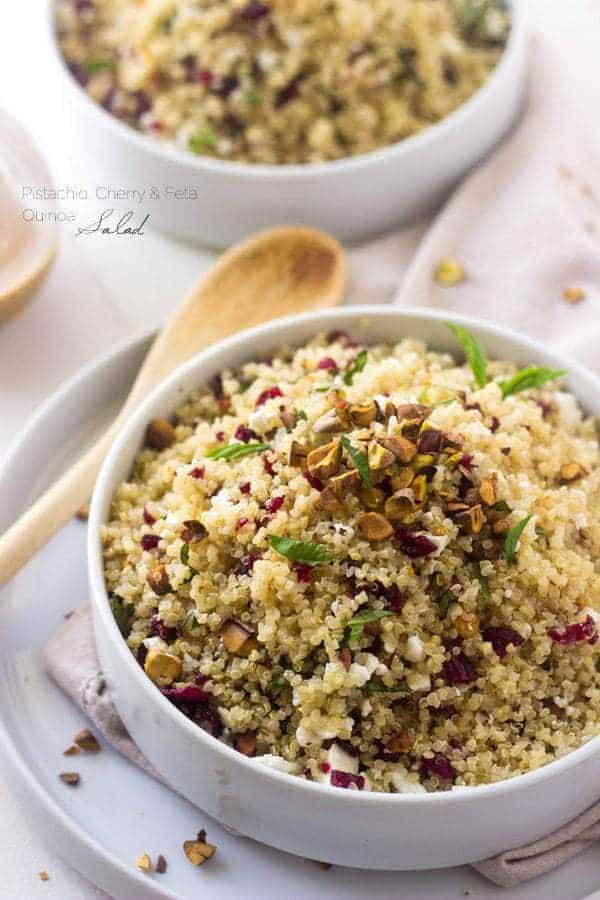 Top 14 Recipes of 2014  - Cherry Pistachio Quinoa Salad   Foodfaithfitness.com   #recipe