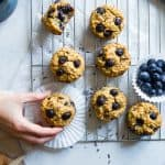 High Protein Blueberry Quinoa Muffins - Naturally sweetened, gluten free, dairy free and packed with plant based protein and fiber! These muffins are quick and easy to make and great for kids lunchboxes or snacks! Adults love them too! | #Foodfaithfitness | #Glutenfree #Dairyfree #Proteinpowder #Healthy #Quinoa