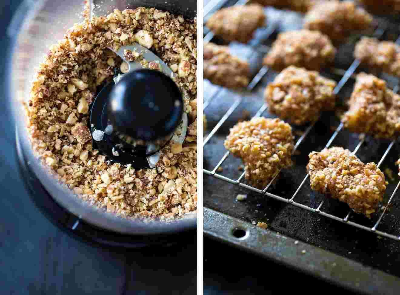 6 Ingredient Almond Chicken Bites with Honey Mustard Dip - SO easy, crunchy and healthy! Using Greek Yogurt in the dip makes this a healthy appetizer!   Foodfaithfitness.com   #recipe