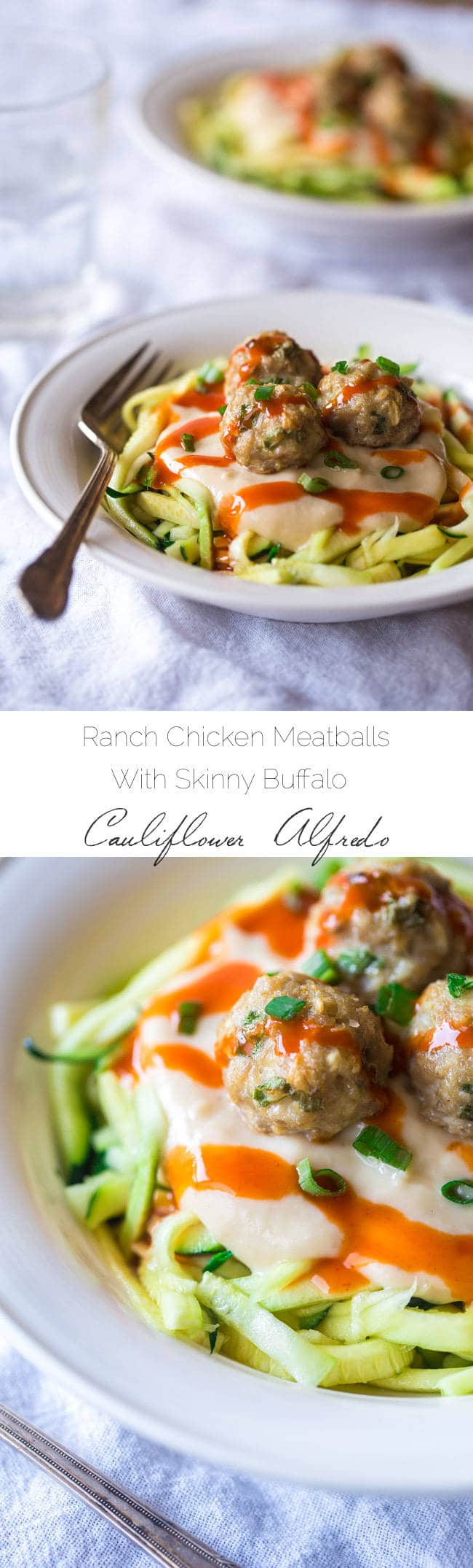 Buffalo Chicken Meatballs with Skinny Buffalo Cauliflower Alfredo - A Dinner perfect for Game Day that is SO healthy and easy! You would never know it's gluten free, low carb and PACKED with protein! | Foodfaithfitness.com | #recipe