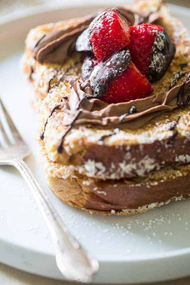 Coconut Crusted Brioche French Toast with Coconut Whipped Cream and Chocolate Covered Strawberries - Sugar free! The perfect Valentine's Day Breakfast! | Foodfaithfitness.com |  @FoodFaithFit