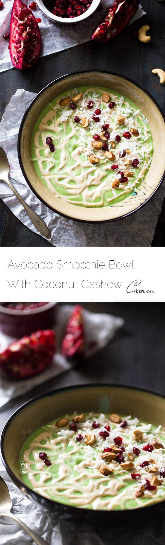 Avocado Smoothie Bowl with Cashew Cream - Ready in 5 minutes, protein packed and full of superfoods! This will be your new favorite detox breakfast! | Foodfaithfitness.com | #recipe