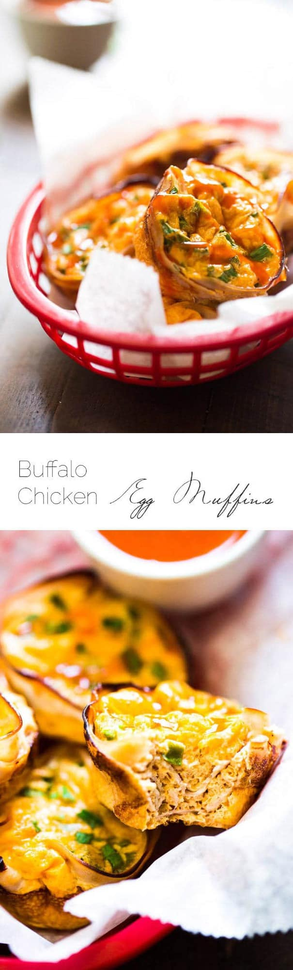 Buffalo Chicken Egg Muffin Recipe - Protein Packed and ready in 20 minutes, these are perfect for a healthy on the go breakfast or game day bite! | Foodfaithfitness.com | #recipe