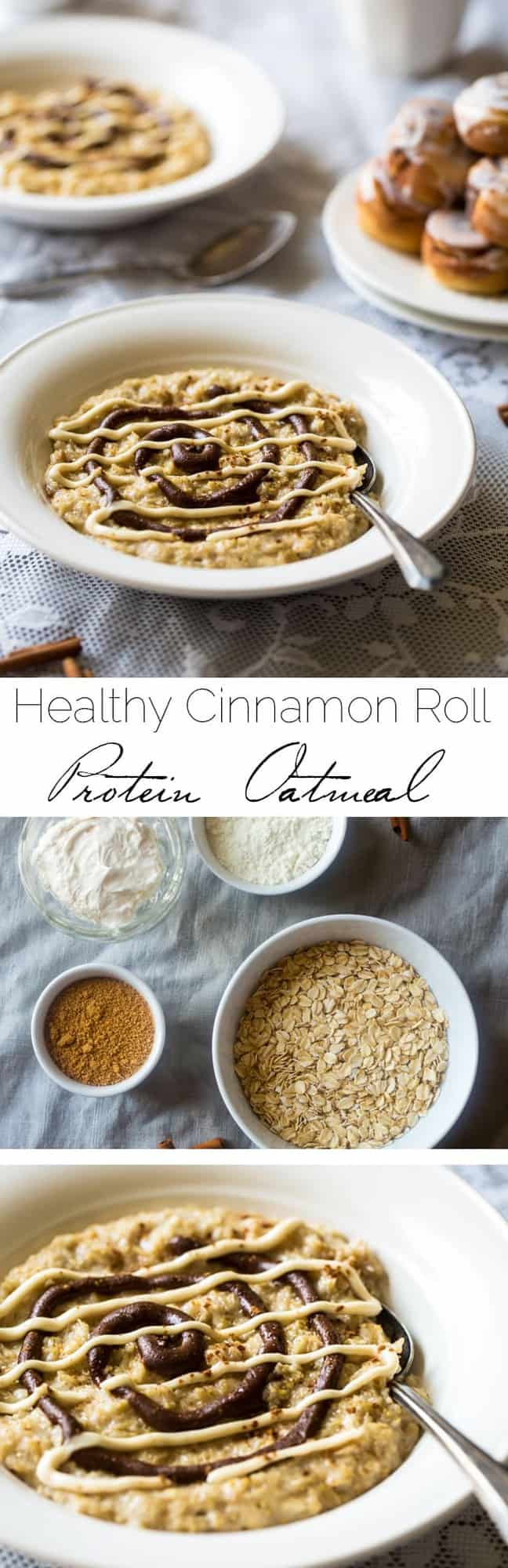 Healthy Cinnamon Roll Protein Oatmeal - This tastes EXACLTY like a cinnamon roll except it's SO quick, gluten free, protein packed and naturally sweetened. You NEED to try this! | Foodfaithfitness.com | @FoodFaithFit