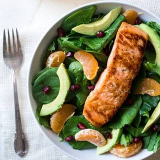 Kale Salad Recipe with Salmon, Pomegranate and Orange Coconut Vinaigrette {Paleo, GF, High Protein + Super Simple }