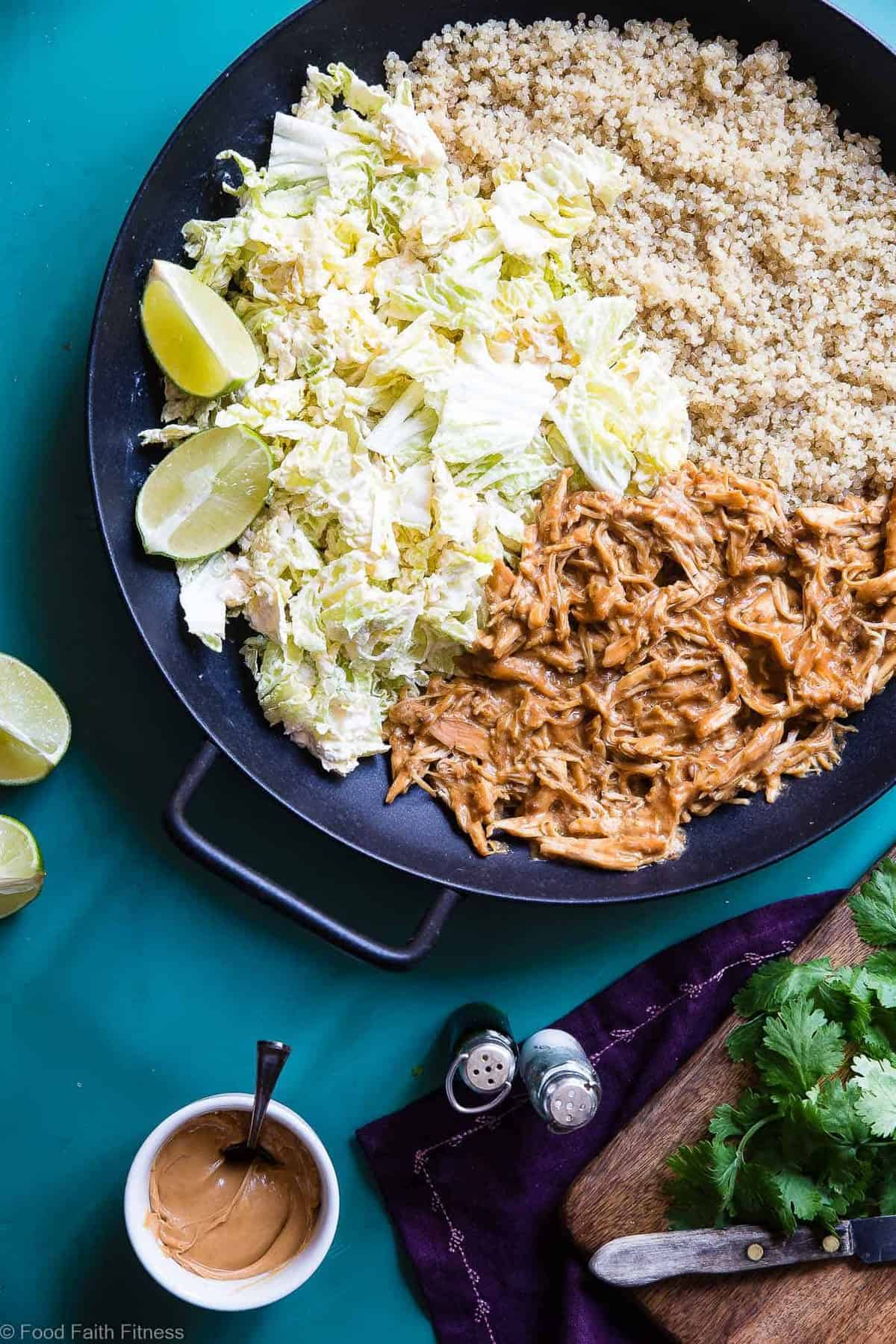 Slow Cooker Thai Peanut Butter Chicken Recipe -CREAMY crockpot Thai peanut chicken ismixed with quinoa and a spicy cabbage slaw to make a family friendly, gluten free and healthy meal! Theslow cooker does the work for you! | #Foodfaithfitness | #Glutenfree #Dairyfree #Healthy #Slowcooker #Crockpot