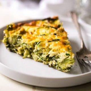 Zucchini Noodle Broccoli Cheese Casserole {Gluten/Grain Free, High protein, Vegetarian + Super Simple}
