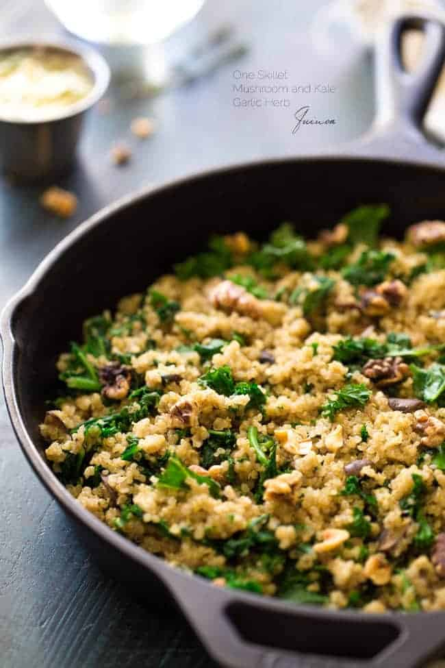 One Skillet Kale and Quinoa with Garlic Herb Butter | Foodfaithfitness.com | @FoodFaithFit