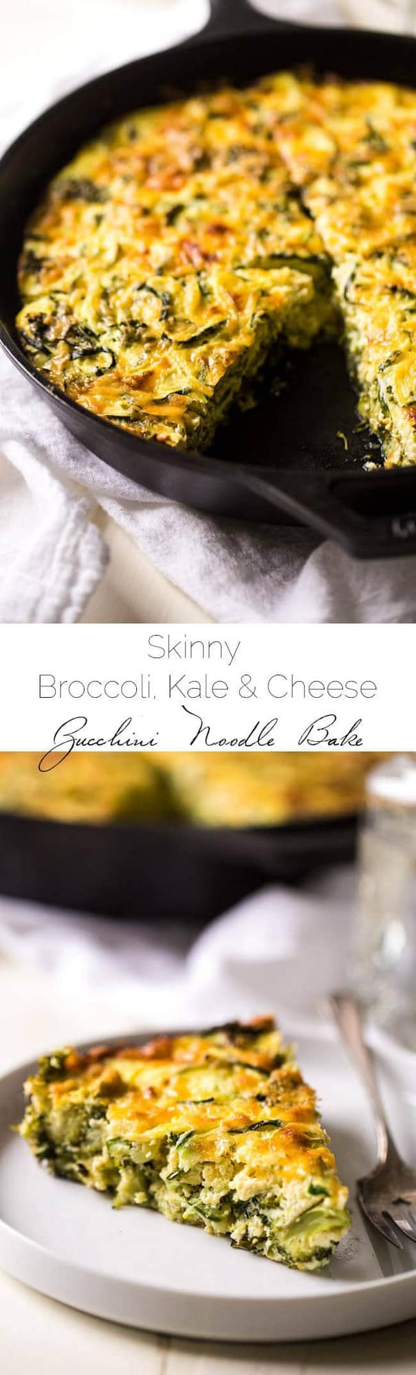 Zucchini Noodle, Kale and Broccoli Cheddar Casserole - 6 Ingredients, grain + gluten free and Vegetarian! Even the kids will love this healthy, veggie-packed dinner! | Foodfaithfitness.com | @FoodFaithFit