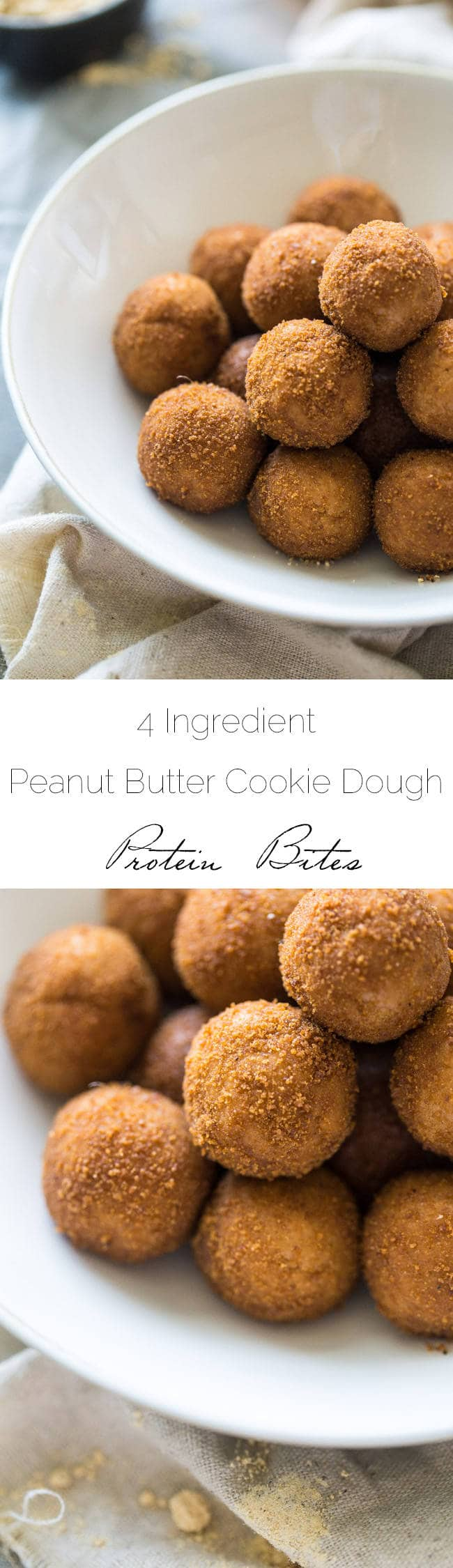 Healthy Peanut Butter Cookie Protein Bites - Only 4 ingredients, ready in 10 minutes and protein packed, gluten free AND naturally sweetened! You NEED to try them! | Foodfaithfitness.com | @FoodFaithFit