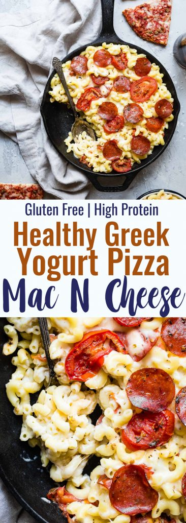 Gluten Free Greek Yogurt Pizza Mac and Cheese - this homemade mac and cheese recipe tastes like pizza but is healthy, gluten free and protein packed thanks to Greek yogurt! A quick and easy dinner for both kids and adults! | #Foodfaithfitness | #Glutenfree #Greekyogurt #Healthy #Pizza #Kidfriendly