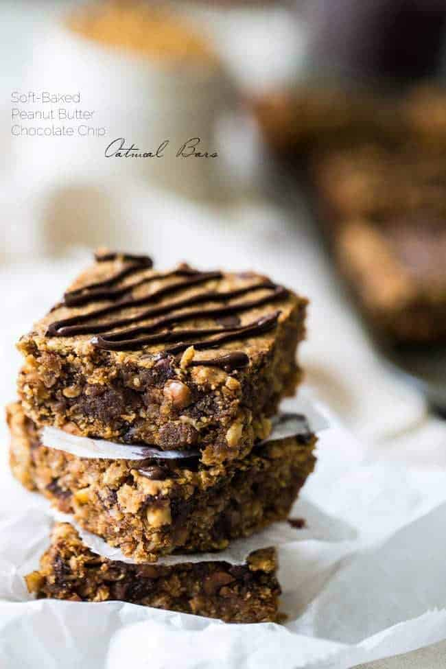 Healthy Peanut Butter Oatmeal Breakfast Bars - Tastes like store bought but are high protein, gluten free and have no refined sugar, butter or oil! | Foodfaithfitness.com | @FoodFaithFit
