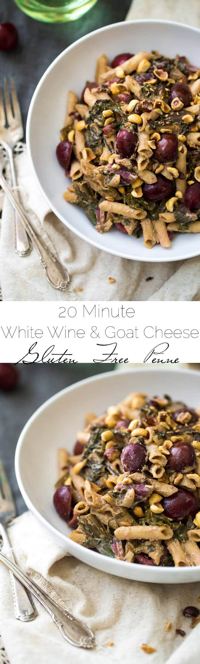 20 Minute White Wine and Goat Cheese Pasta with Rainbow Chard Recipe - SO easy, Gluten free and creamy!  Perfect for a weeknight or romantic dinner at home! | Foodfaithfitness.com | #recipe